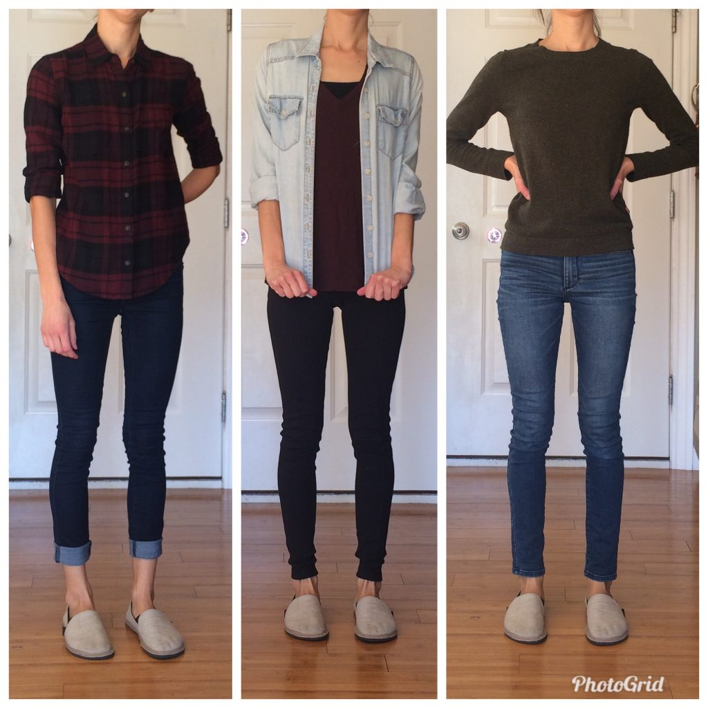 A woman wearing the unshoes terra vida barefoot vegan hemp slip on with three different outfits to show how to style them