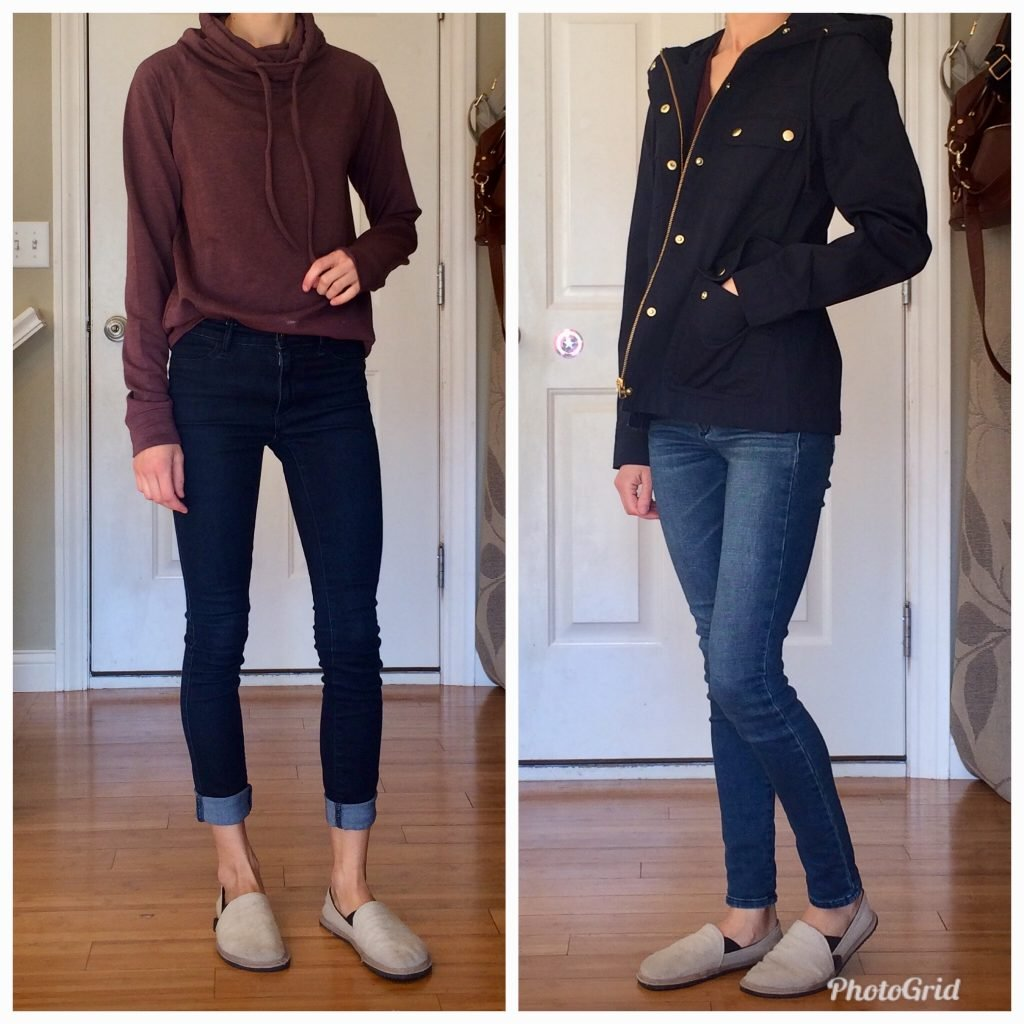 A woman wearing the unshoes terra vida barefoot vegan hemp slip on with two different outfits to show how to style them