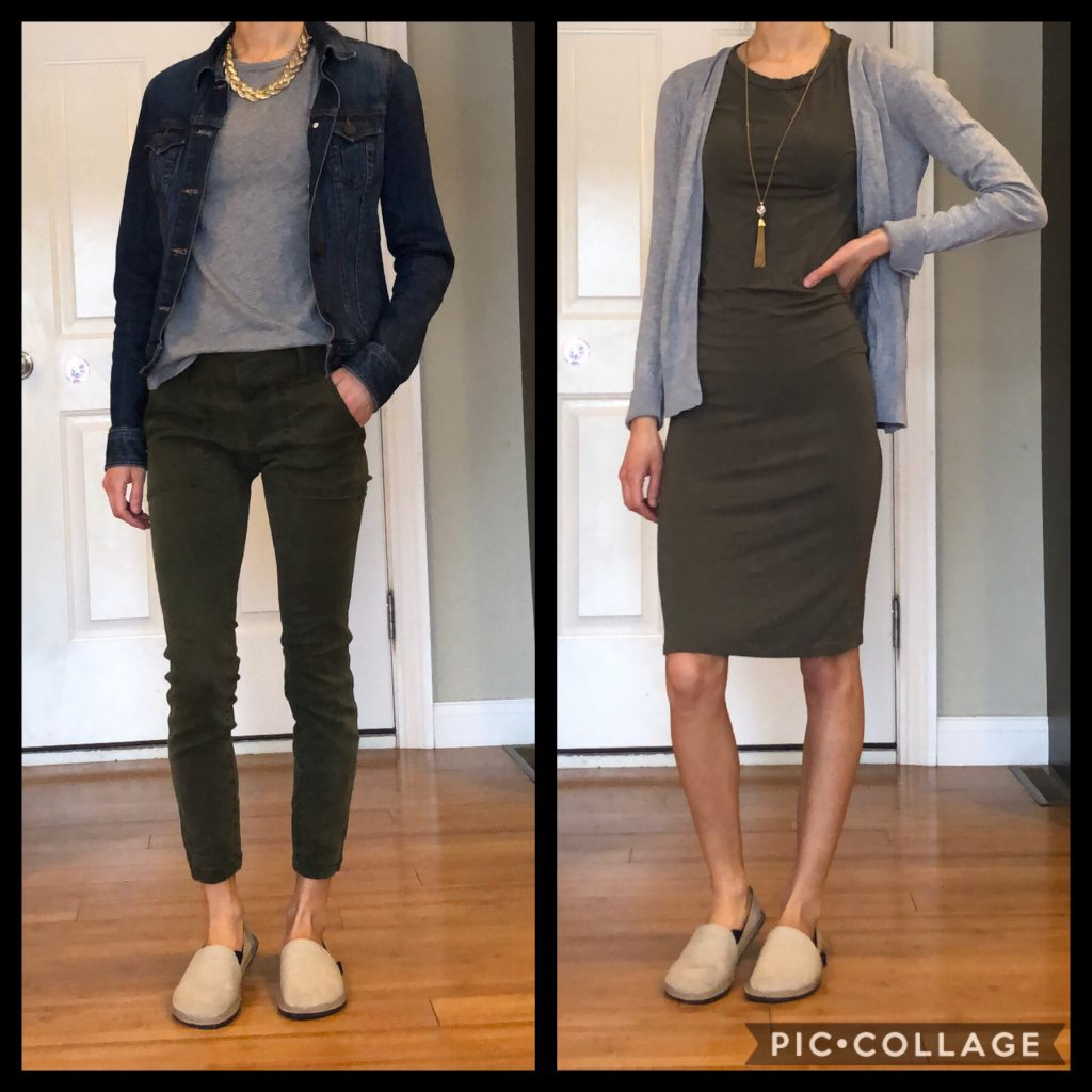 A woman wearing the unshoes terra vida barefoot vegan hemp slip on with two different dressy outfits to show how to style them