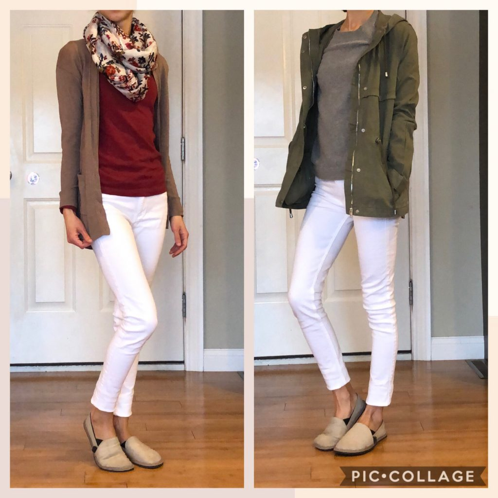 A woman wearing the unshoes terra vida barefoot vegan hemp slip on with two different white jean outfits to show how to style them