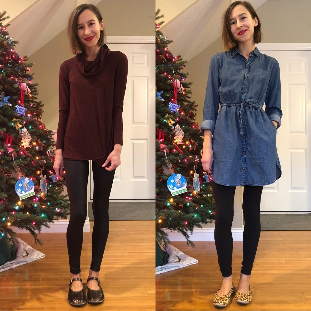 A woman in 2 different stylish Holiday outfits wearing Zeazoo Mary Jane barefoot shoes on the left, and The Storehouse Flats on the right