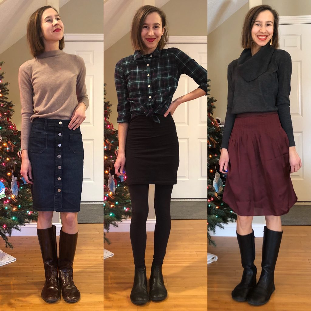 A 3 photo collage of the same woman wearing barefoot boots with 3 winter outfits. The Drifter Leather riding boots and chelsea boots are featured.