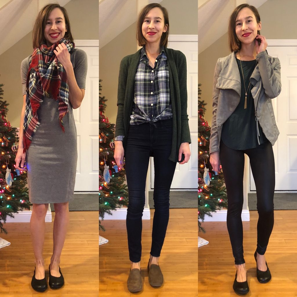A collage of the same woman in 3 winter outfits wearing Vivobarefoot Jing Jings and Zuzii Loafers.
