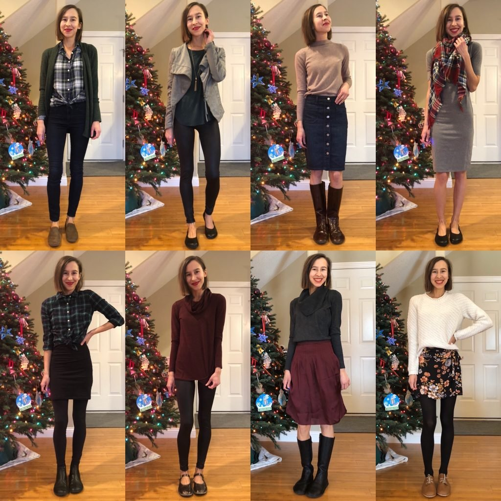 A collage of 8 photos of the same woman wearing different Holiday outfits. She is wearing barefoot shoes in each photo.
