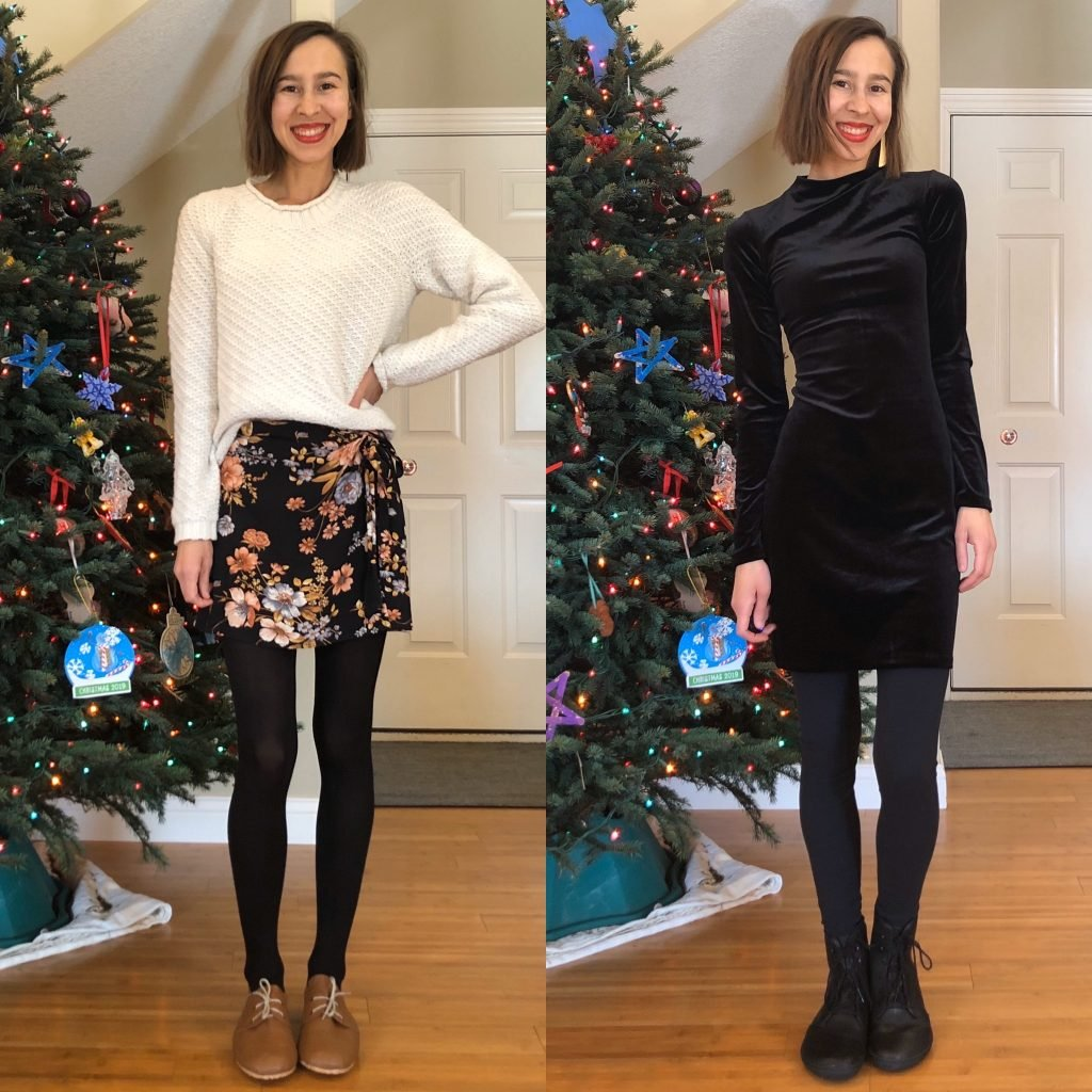 A 2 photo collage of a woman in dressy Holiday outfits showing how to style 2 lace up barefoot shoes. Hoss Handmade Oxfords on the left, and Vivobarefoot Gobi Hi Tops on the right.