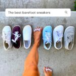 A top down view of a line of the best barefoot sneakers that look cool. A woman wearing Correct Toes has her foot extended into the middle of the line. Be Lenka, Mukishoes, Feelgrounds, Groundies, Vivobarefoot, and Bohempia.