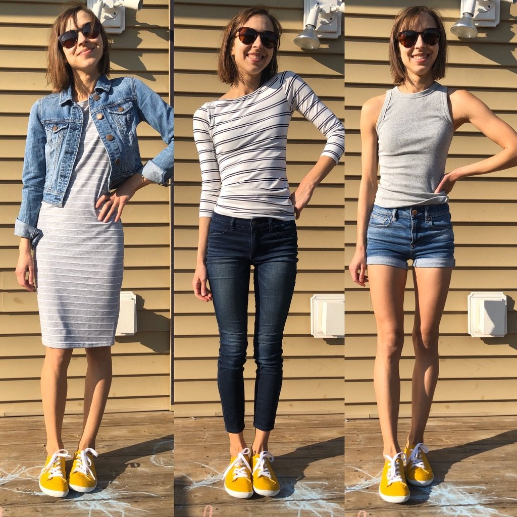 a side by side image of a woman wearing 3 different outfits and mukishoes barefoot sneakers in all 3 - to show how to style them