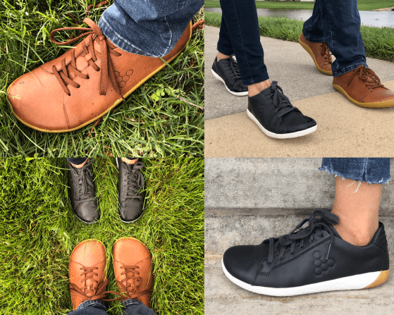 Vivobarefoot Court and Addis sneakers collage