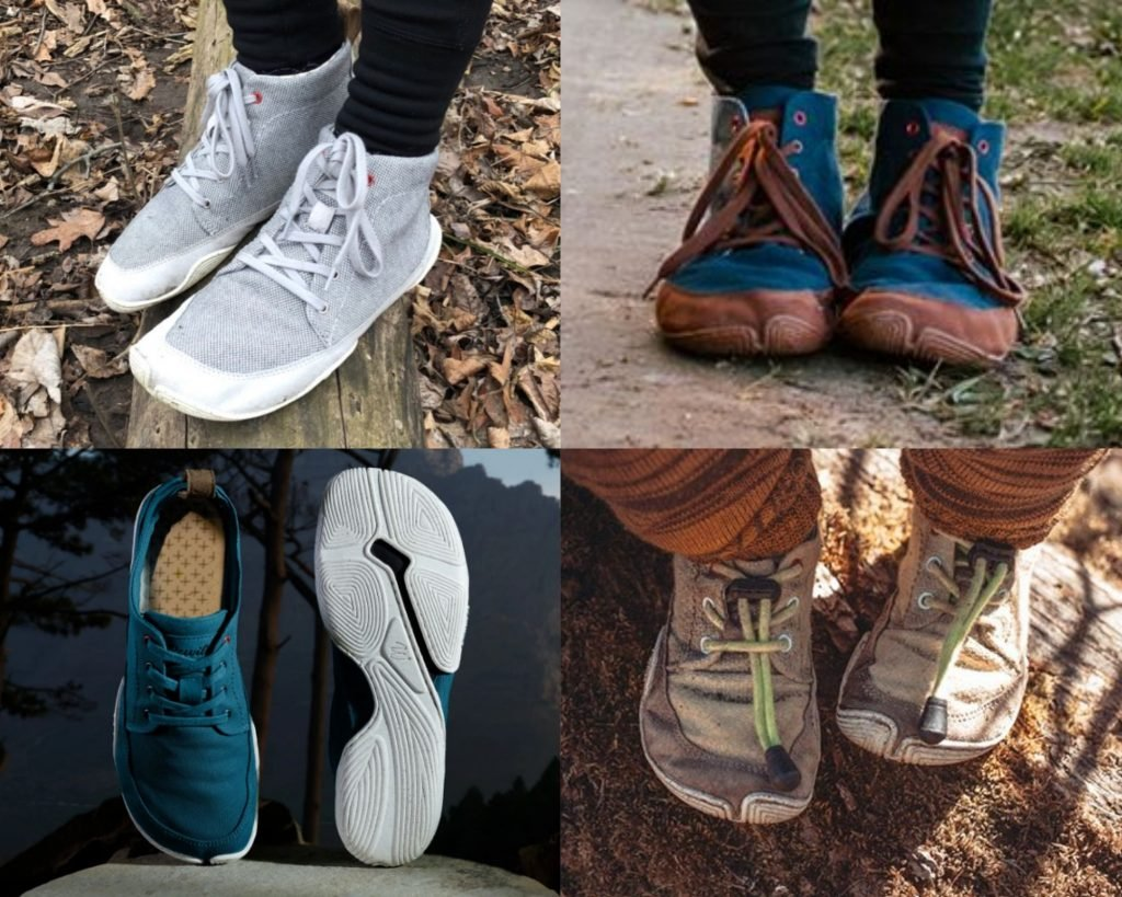A collage of 4 different Wildling Shoes, one of the all time best barefoot shoe brands for kids and adults with waterproof and winter options.