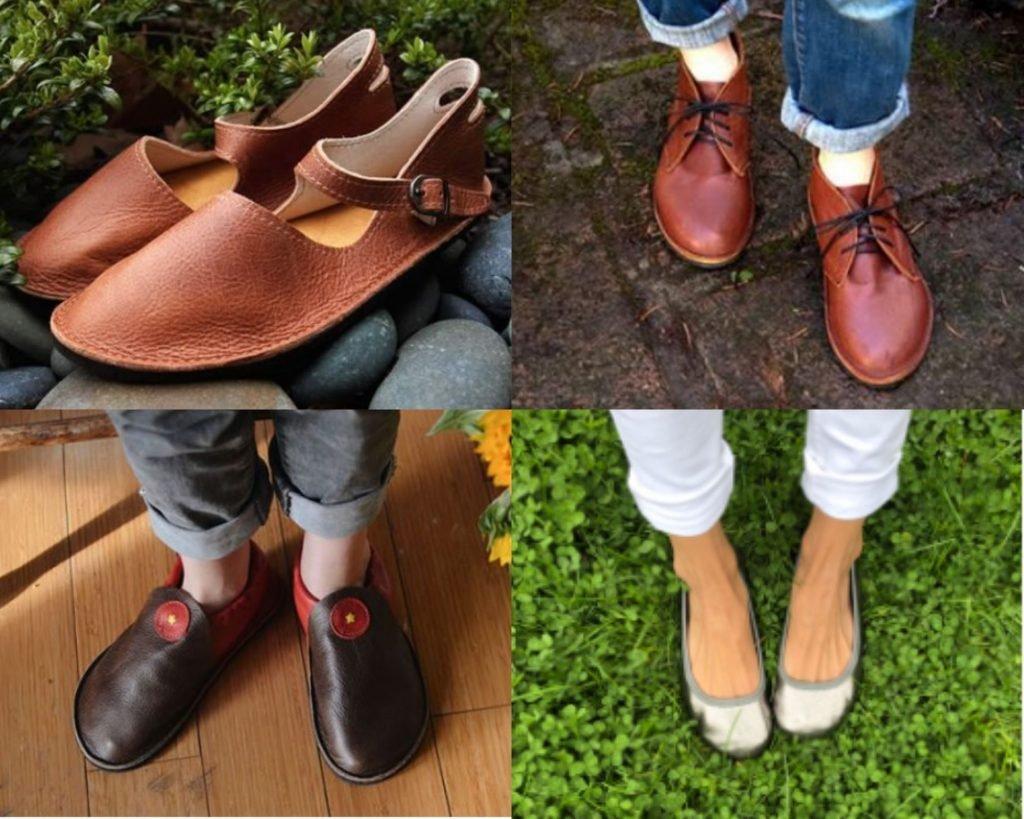 collage of softstar barefoot shoes Merry janes, hawthorne dress shoes, children's rambler, and women's ballerine ballet flat