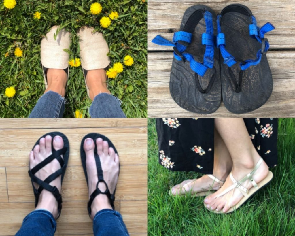 4 Unshoes Footwear shoe styles, Saffron, Terra Vida, Kid's sandals, and adult running sandals