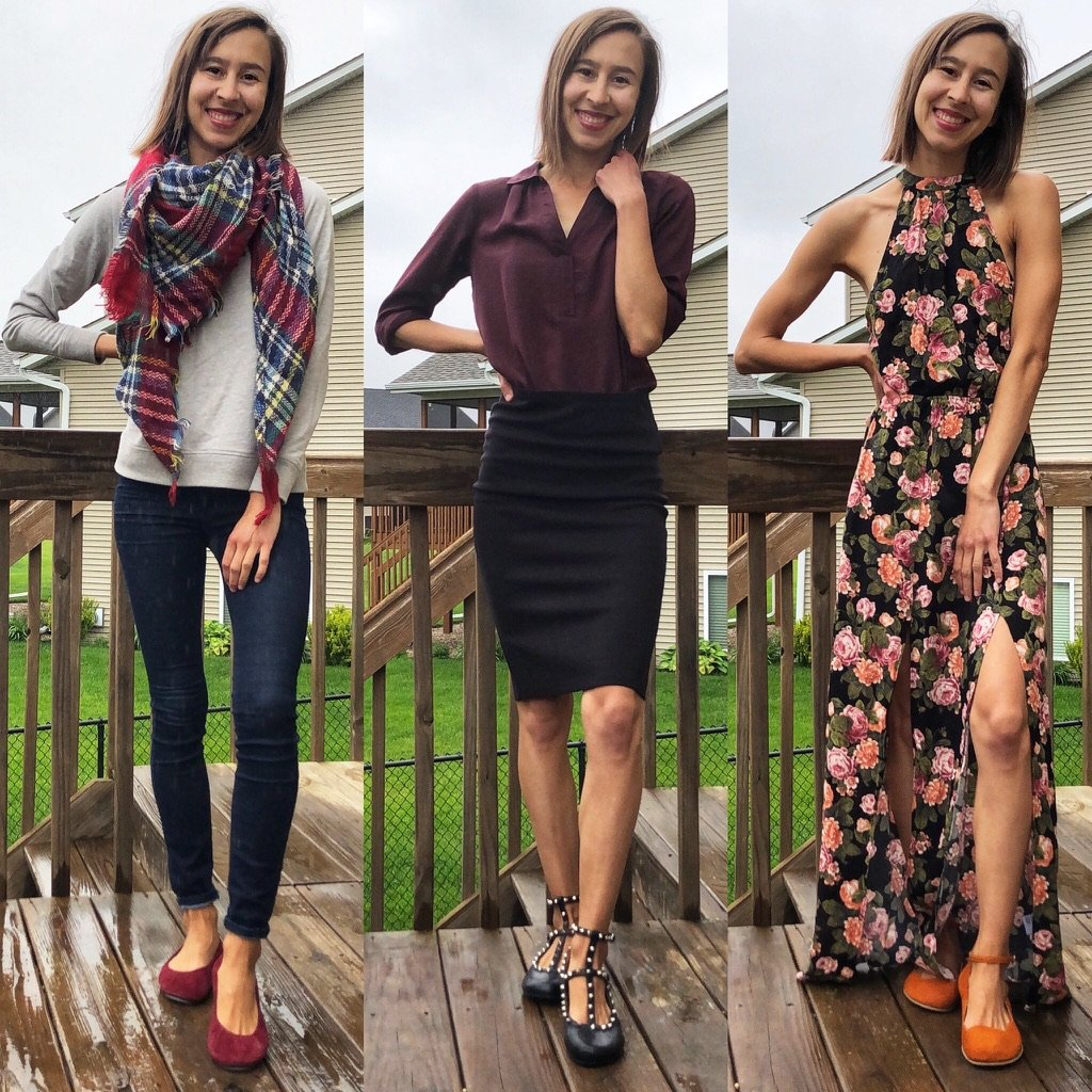 A collage of a woman wearing 3 different outfits and 3 different pairs of barefoot ballet flats - Zaqq Barefoot, Storehouse Flats, and Lisbeth Joe Harare