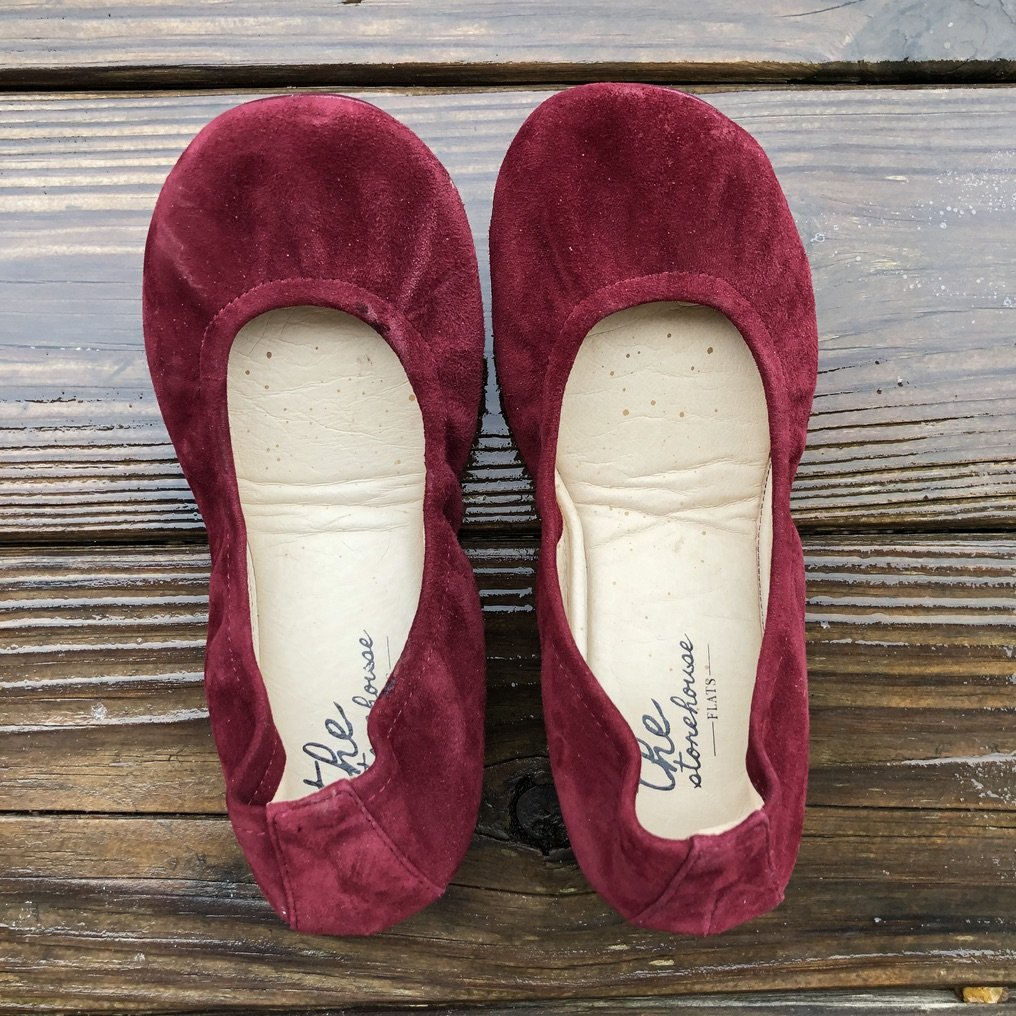 the storehouse flats wine suede close up