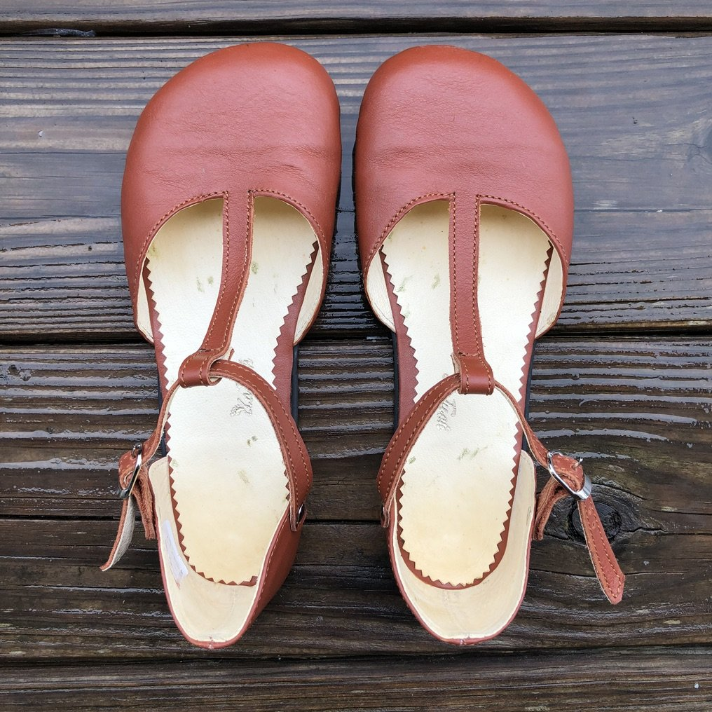 zlatush barefoot ballet flats cognac t-strap close up