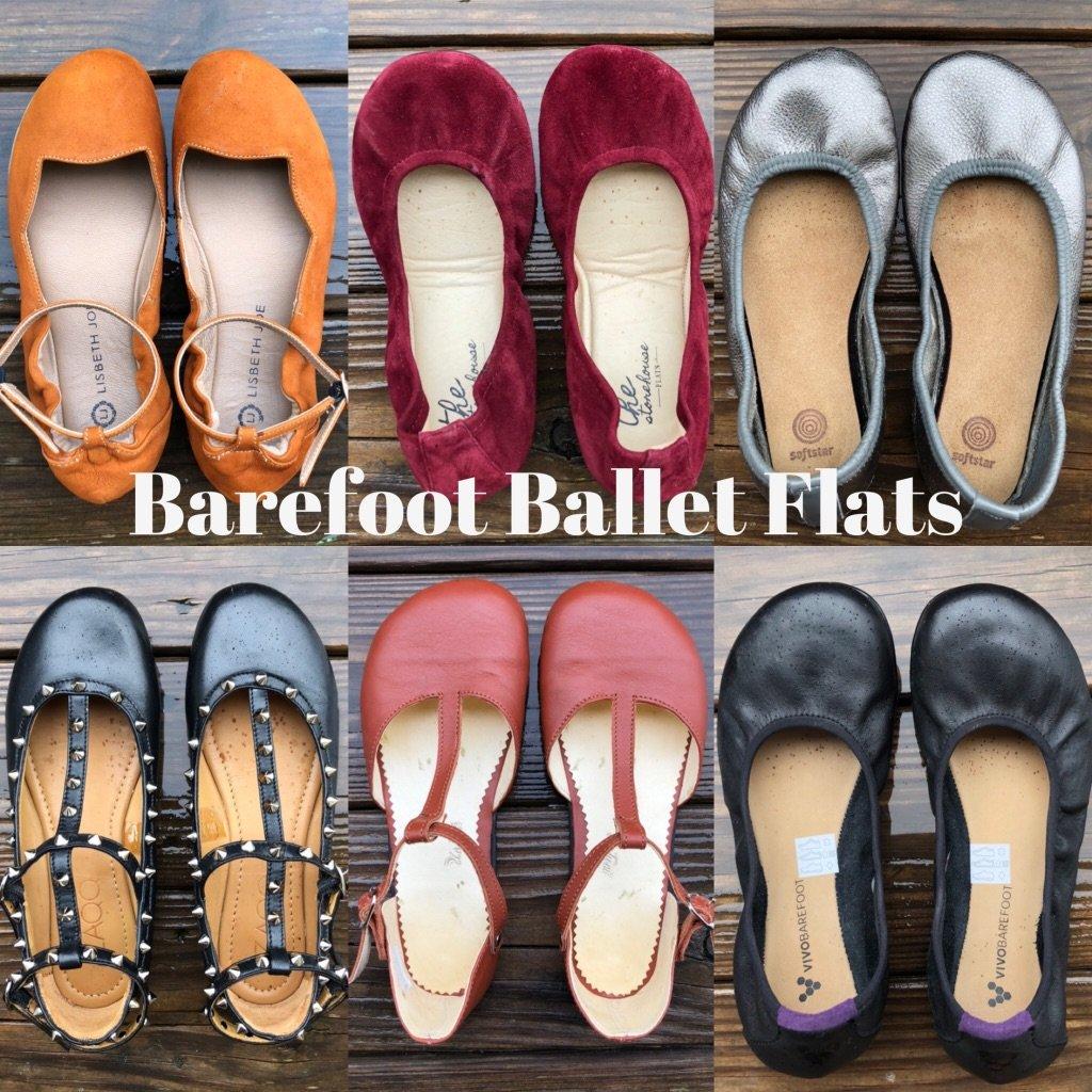 A photo collage of barefoot ballet flats for women - Zaqq Marq, Lisbeth Joe Harare, Storehouse Flats, Softstar Ballerines, Zlatush shoes, and Vivobarefoot Jing Jing