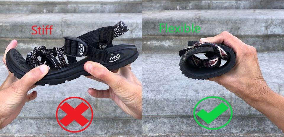 """a side by side comparison of two shoes held up by hands. On the left is a thick-soles stiff Chacos sandal that the hands are trying to roll up. The word """"Stiff"""" is written in red above the sandal and a red X is underneath. On the right is an Earth Runners Sandals that is rolled easily up into a ball and held with one hand. The word """"Flexible"""" is written above it and there is a green check mark underneath."""