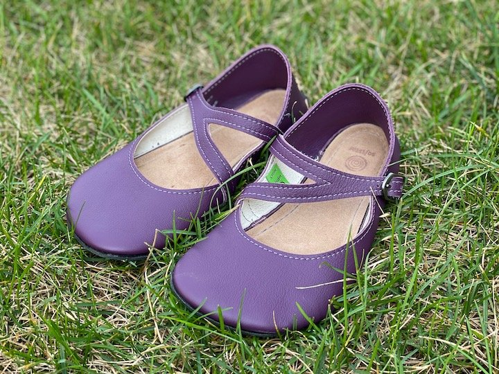 A top down image of a pair of elderberry primal merry janes softstar flats sitting on grass side view