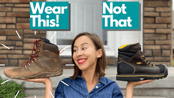 """A woman holding up one shoe in each hand: The VIvobarefoot TRacker on the left and the Keen Utility boot on the right. Above the tracker is the text """"wear this"""" and above the keen boot is the text """"not that."""""""