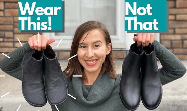 """A woman holding up two pairs of shoes, one is the Mukishoes Chelsea review, a barefoot vegan chelsea boot. The other is a traditional chelsea boot with a heel and pointed toe. Above the image is the text """"Wear This! Not That"""""""