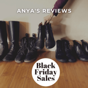 Row of black barefoot shoes above Black Friday Sales 2020 stamp