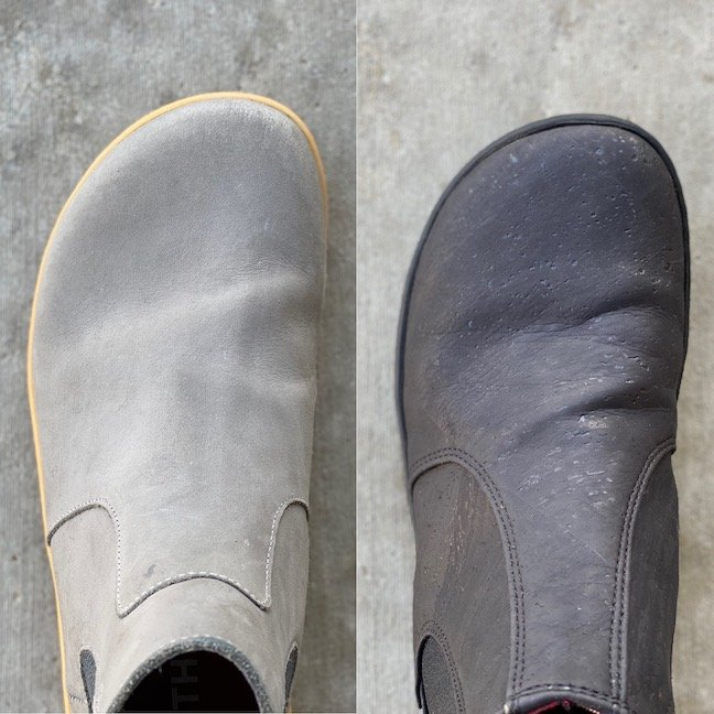 A side by side of two pairs of barefoot chelsea boots. On the left is the Vivobarefoot Fulham and on the right is the Mukishoes chelsea, to show a review of width and shape comparison