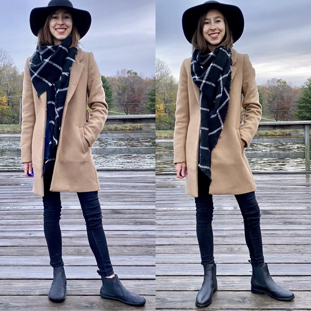 A side by side image of a woman standing near a lake wearing the same coat and pants but two different black boots: On one side she is wearing the Mukishoes vegan barefoot Chelsea boot, and on the other side she is wearing the Thursday Duchess chelsea boot