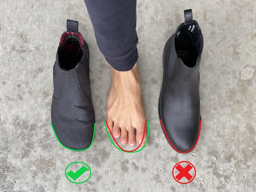 A top down view of a foot in between two pairs of shoes. On the left is the Mukishoes Chelsea boot, a vegan barefoot boot made of cork with a foot-shaped toe box. On the right is the Thursday Duchess black chelsea boot. Annotation shows that the Mukishoes chelsea boot is shaped like my foot, while the Thursday boot is too narrow.