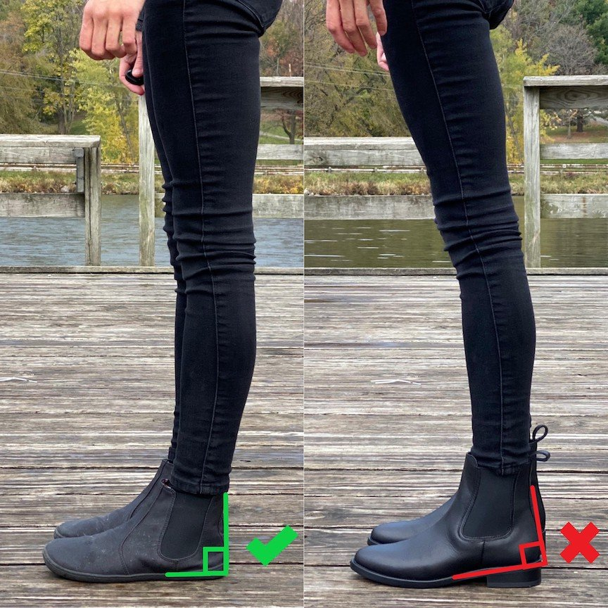 A side by side comparison review of a woman standing in the Mukishoes Chelsea vegan barefoot boots versus standing in a traditional Thursday Duchess chelsea boot that has a heel.