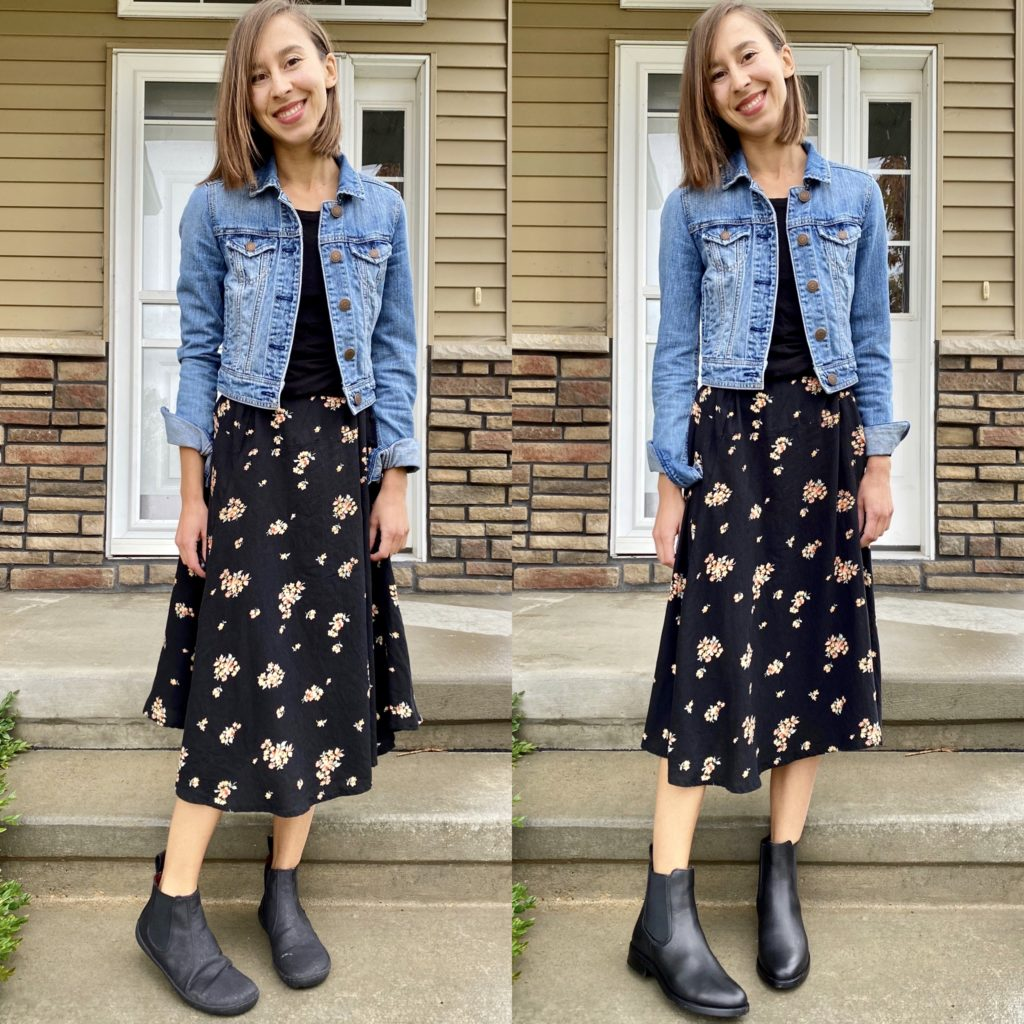 A side by side image of a woman wearing the same outfit but two different black boots: On one side she is wearing the Mukishoes vegan barefoot Chelsea boot, and on the other side she is wearing the Thursday Duchess chelsea boot