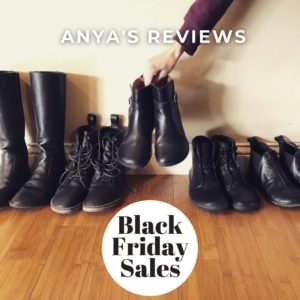 A row of black barefoot shoes with the text anya's reviews and Black Friday Sales 2020 showing that all the discount codes for cyber monday and the holidays will be here in one place