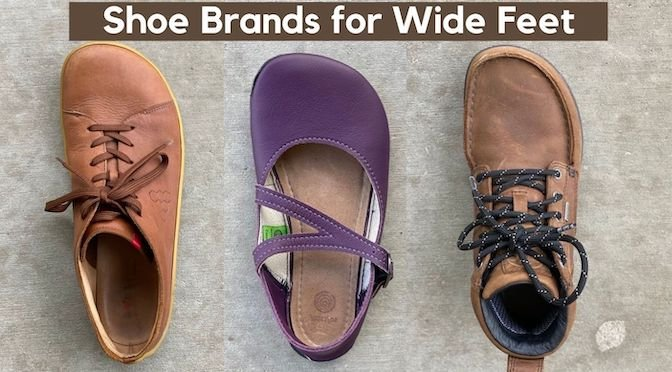 """A top down view of 3 right shoes with the text """"Barefoot Shoes for Wide Feet"""" at the top. Shown are the Vivobarefoot Addis, the Softstar shoes primal merry jane, and the lems waterproof boulder boot"""