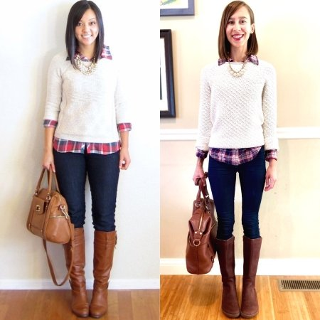 A side by side comparison showing how barefoot shoes can be just as stylish a regular shoes but better for your feet: Shown is a woman wearing the Vivobarefoot Ryder, a barefoot riding boot in brown.