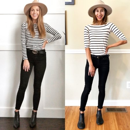 A side by side comparison showing stylish barefoot shoes on a woman: she is wearing black Drifter Leather chelsea boots