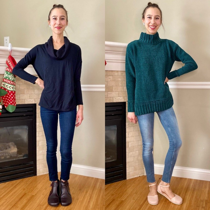 Two images side by side of the same woman. In one she is wearing the Shapen Barefoot Ivy boot in Bordeaux, a minimalist ankle boot. And in the other she is wearing the dressy Shapen Poppy barefoot ballet flat in nude, a dressy barefoot shoe for women.