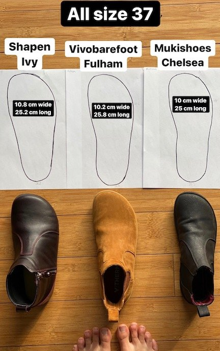 An imagine showing 3 barefoot chelsea boots in a row: the Shapen Barefoot Ivy, the Vivobarefoot Fulham, and the Mukishoes Chelsea. Above the shoes is a row of papers showing an outline and measurements of the width and length of each barefoot ankle boot.