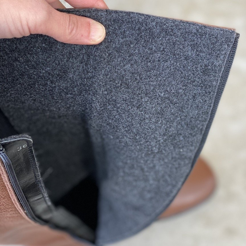 Close up image of interior fleece lining from Be Lenka Sierra riding boots