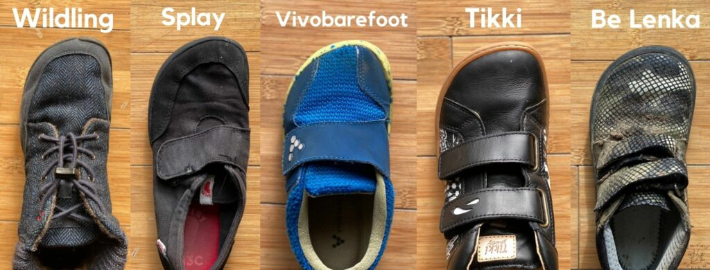 A side by side comparison of 5 major barefoot shoe brands for kids showing the width: Wilding shoes, Splay Athletics, Vivobarefoot Primus, Tikki Moon, and Be Lenka play.