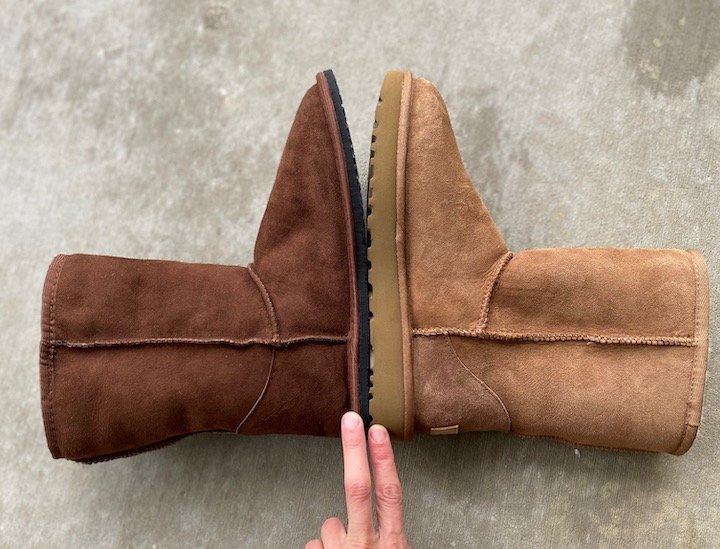 A side by side of the Zeazoo Kids Dingo barefoot boot next to an Uggs classic boot to show the difference in sole thickness.