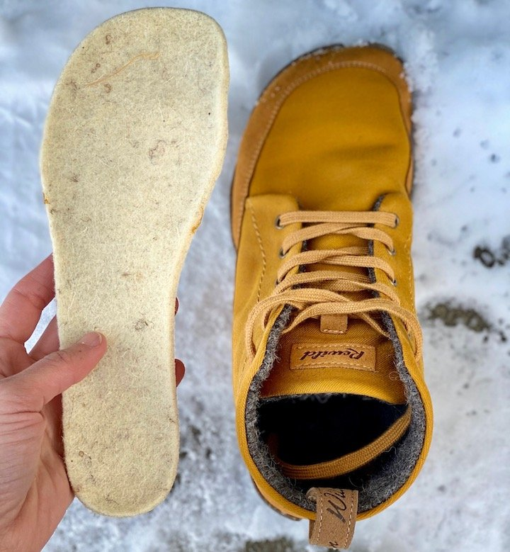 One shoe, Wildling Honeybear, and a hand holding a wooly insole outside in the snow