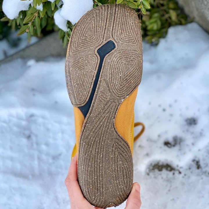 The bottom ninja inspired thin flexible rubber outsole on a pair of WIldling Honeybear barefoot boots