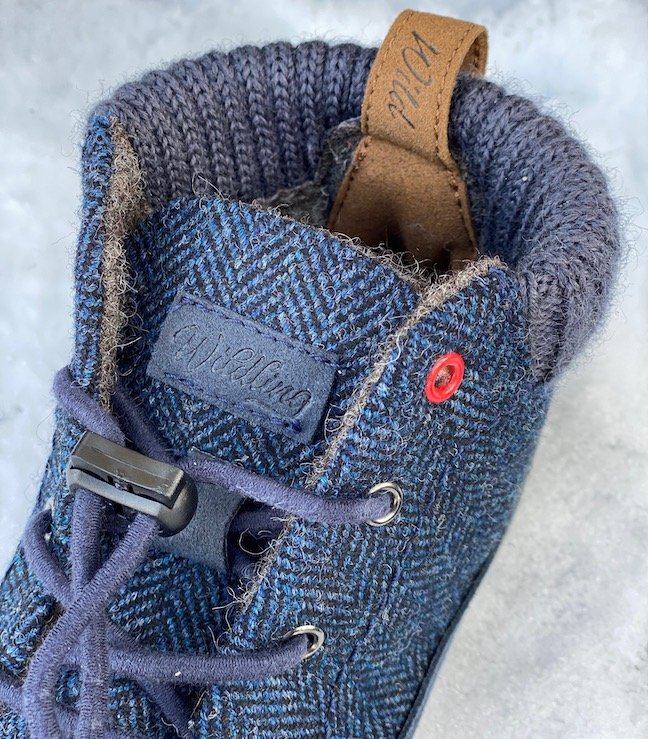 Close up image of Wildling Nessie wool lined barefoot winter kids boots