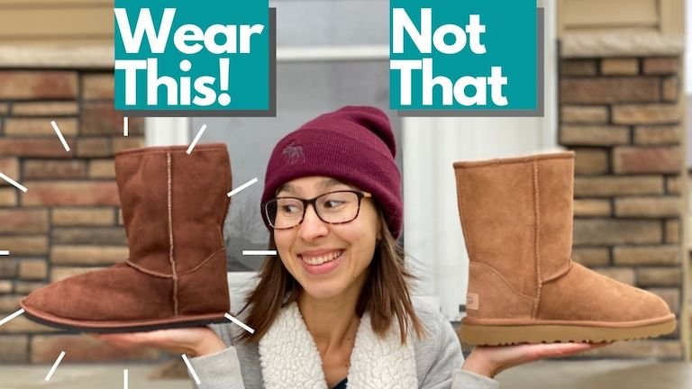 """An image of a woman holding up the barefoot winter Dingo boot from Zeazoo Kids in one hand and the Uggs classic in the other hand with the text """"Wear This! Not That"""" written above"""