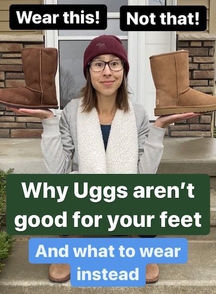 "An Image of a woman holding the Zeazoo Kids Dingo boot in one hand and an Uggs classic boot in the other with the text ""Wear This! Not That! Why Uggs aren't good for your feet and what to wear instead"""