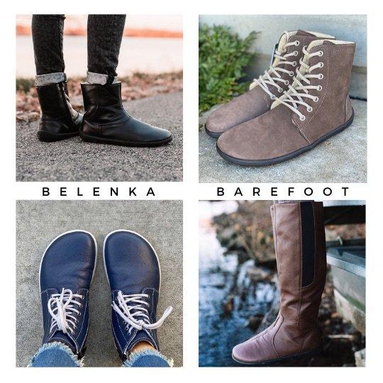 Be Lenka Barefoot Winter boots shown in a collage: The Be Lenka Polar, The Be Lenka Winter, The Be Lenka Nord, and the Be Lenka Sierra