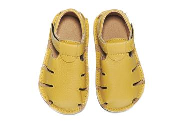 Ginger shoes yellow barefoot leather sandals for kids