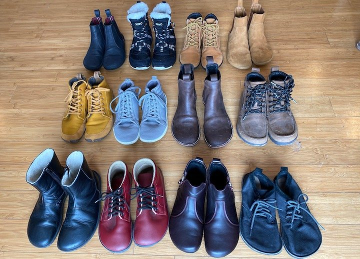 From Left to Right, Top to Bottom: Mukishoes, Xero Shoes, Groundies, Vivobarefoot, Wildling, Feelgrounds, DaVinci, Lems, Be Lenka, Ahinsa, Shapen Ivy, Softstar Primal