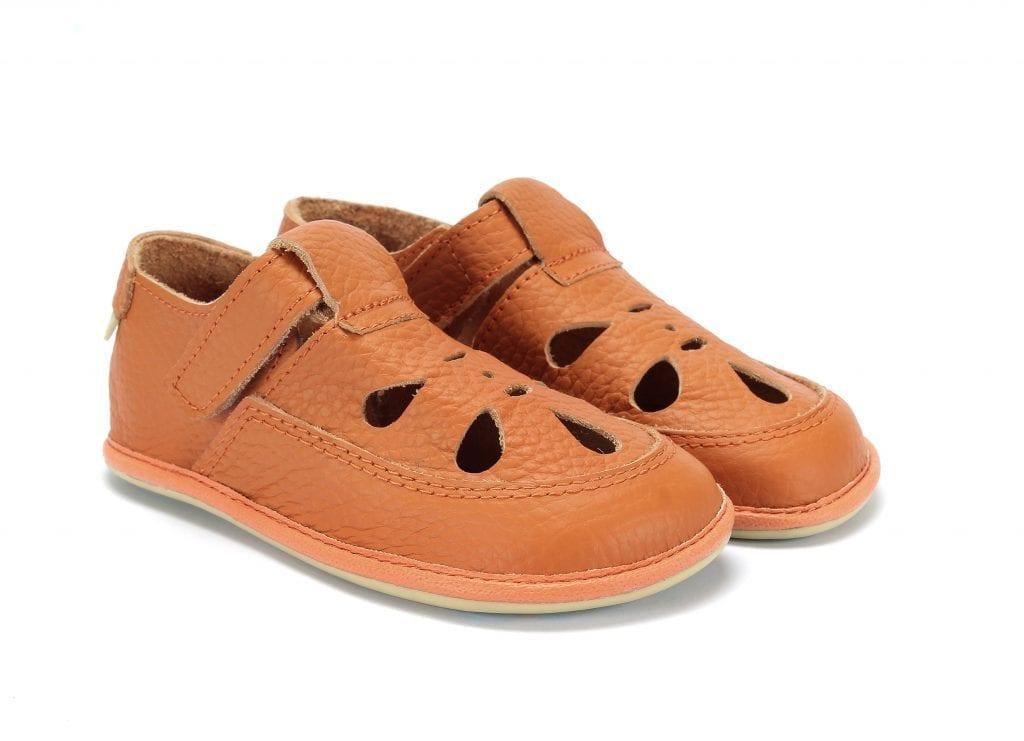 Magical Shoes Coco orange leather sandals flexible zero drop for kids