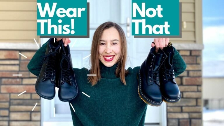 A woman smiling and holding a pair of combat boots in each hand. The text above reads Wear This! Not that.