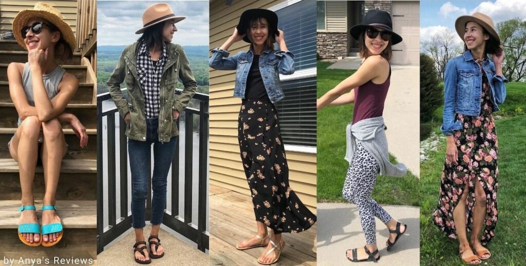 A collage of a woman wearing 5 different pairs of barefoot and minimalist summer sandals, Tikki sandals, shamma barefoot running sandals, unshoes saffron, luks barefoot sandals, and softstar solstice sandals