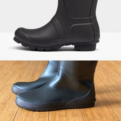 A comparison side view of a heeled black Hunter rainboot and a flat barefoot friendly Asgard rainboot